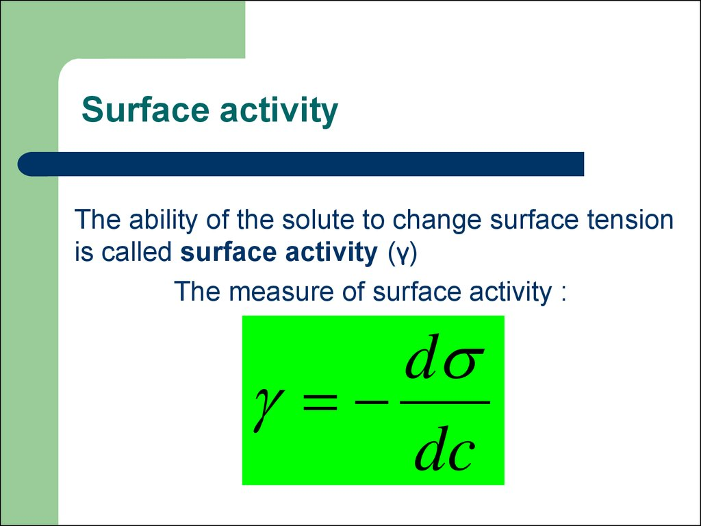 Surface activity
