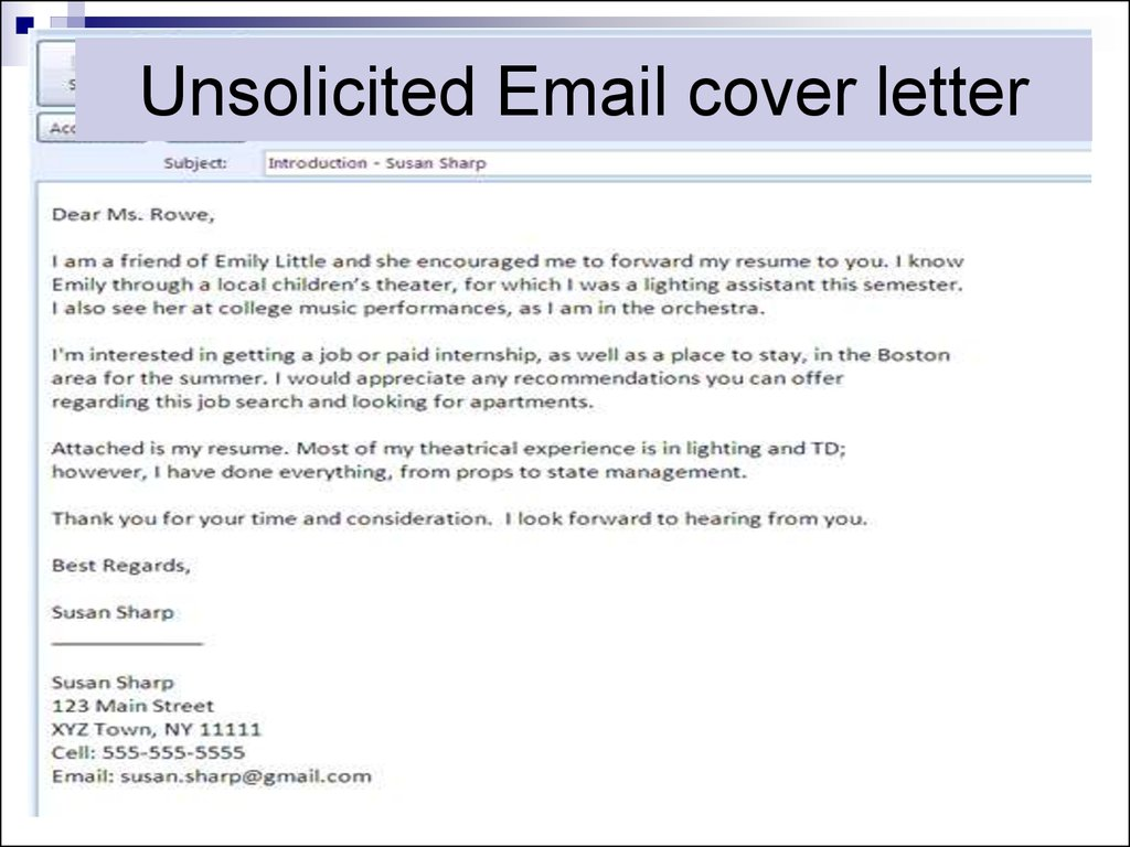 37. Unsolicited Email Cover Letter