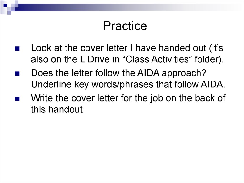 38 practice look at the cover letter