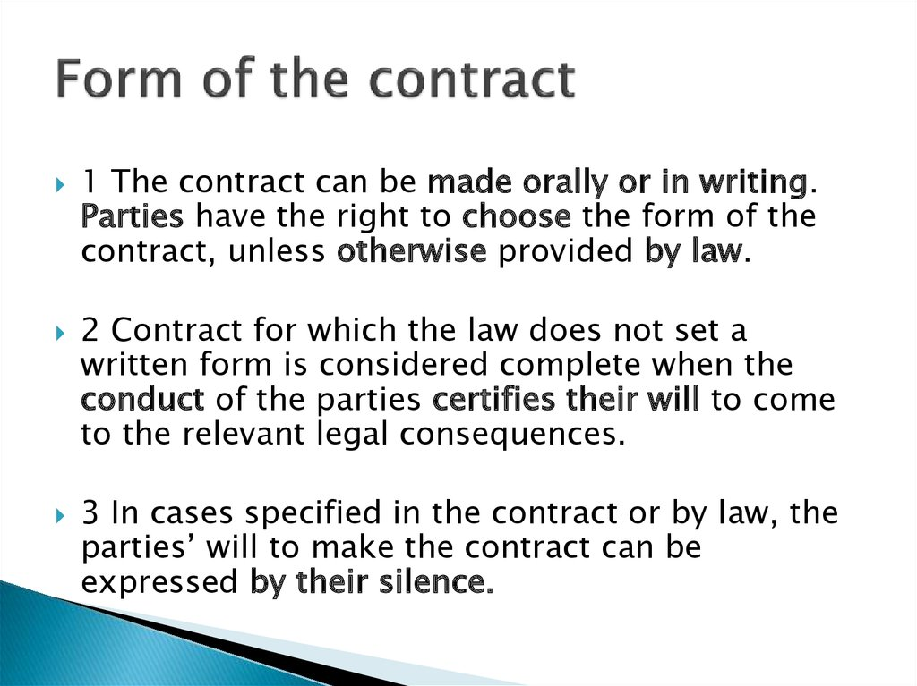 Form of the contract