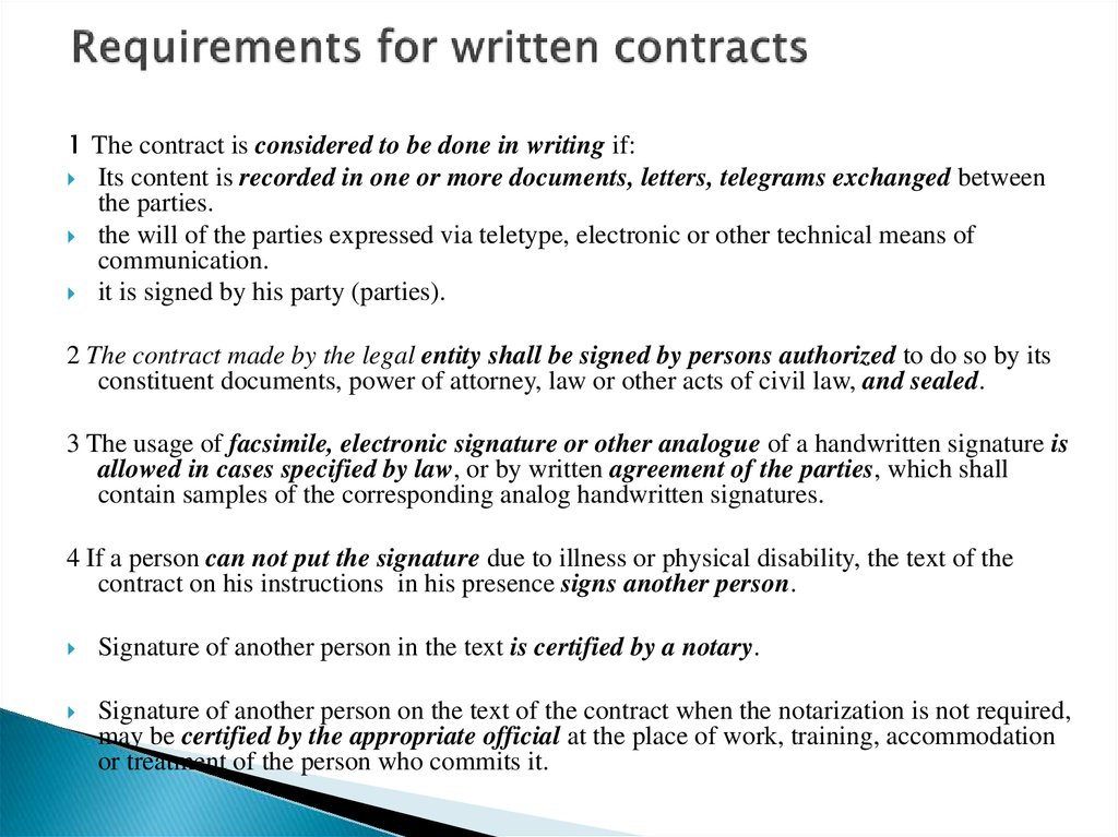 Requirements for written contracts