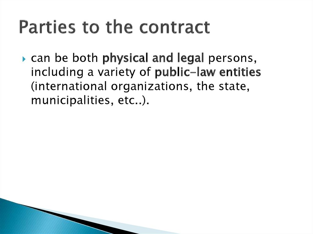 Parties to the contract