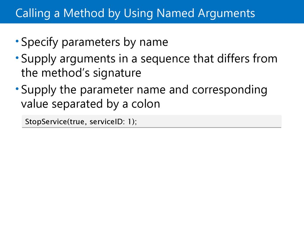 Creating Methods that Use Optional Parameters