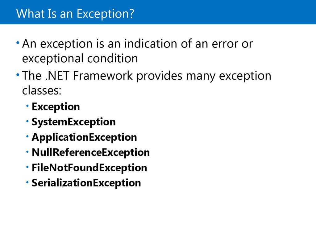 Lesson 3: Handling Exceptions