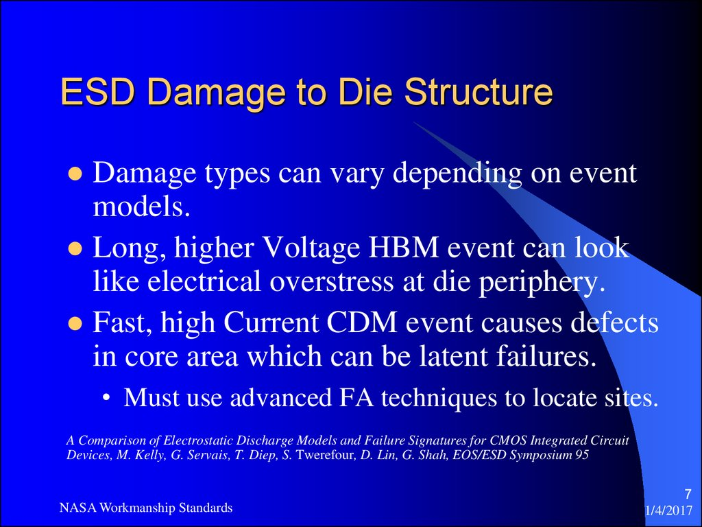 ESD Damage to Die Structure