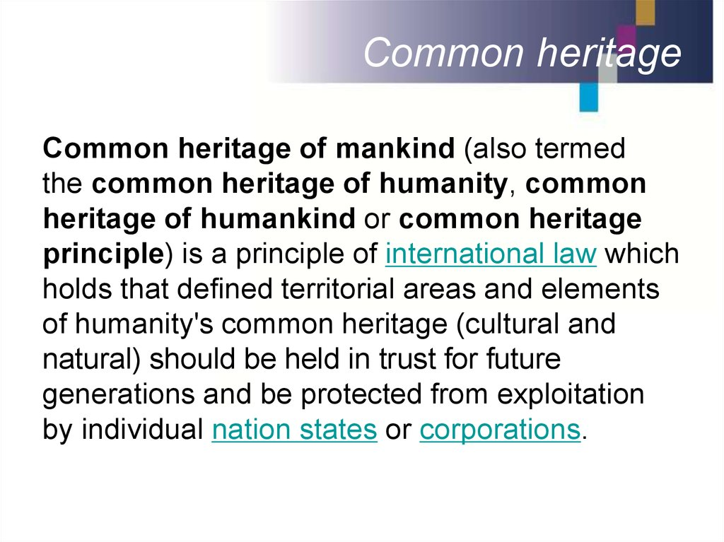 Common heritage