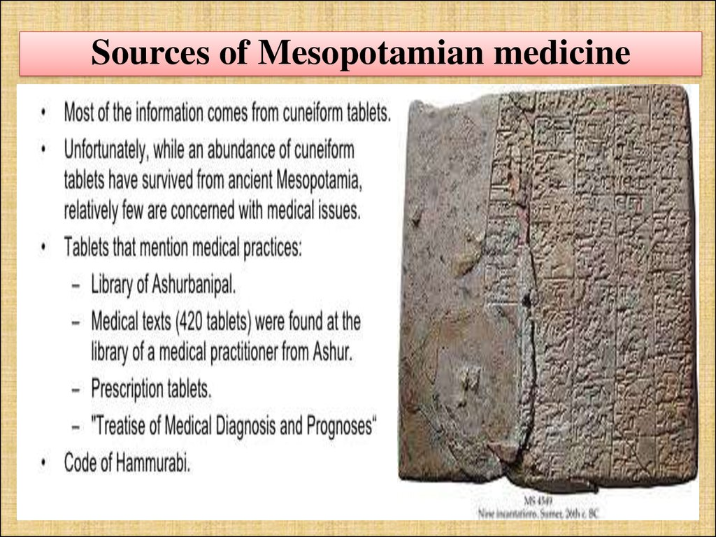 Sources of Mesopotamian medicine