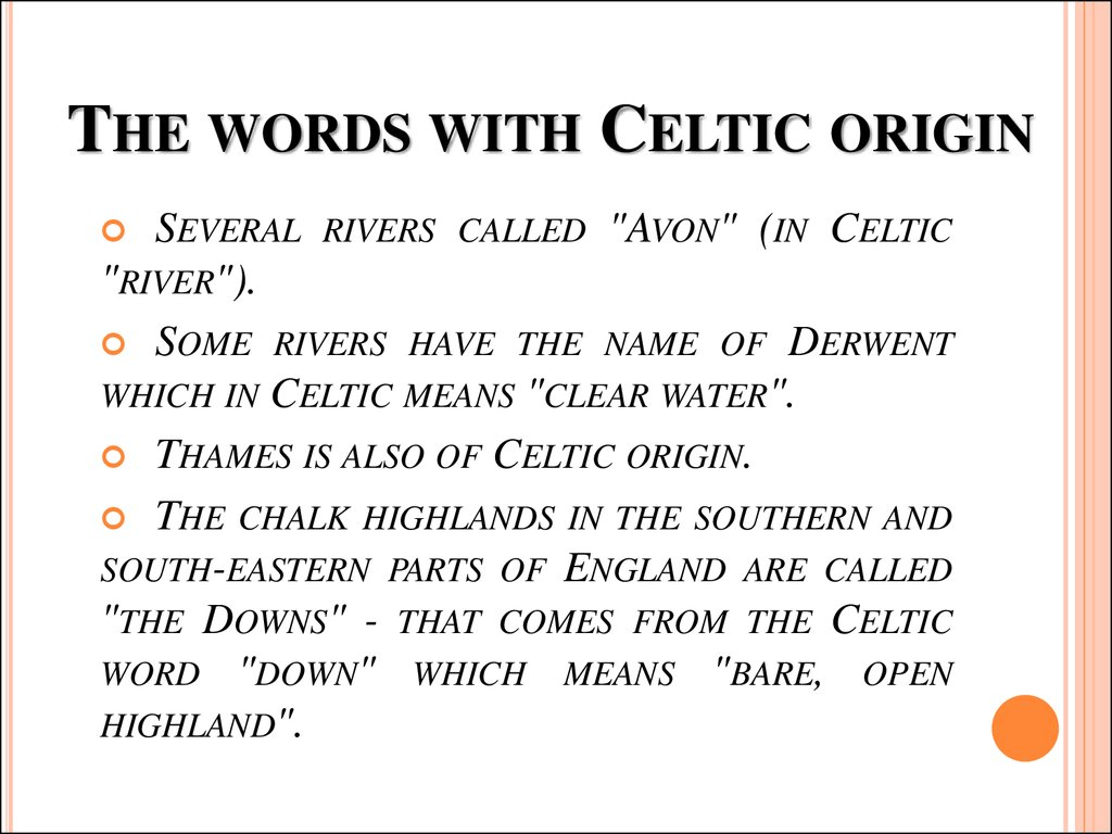 The words with Celtic origin