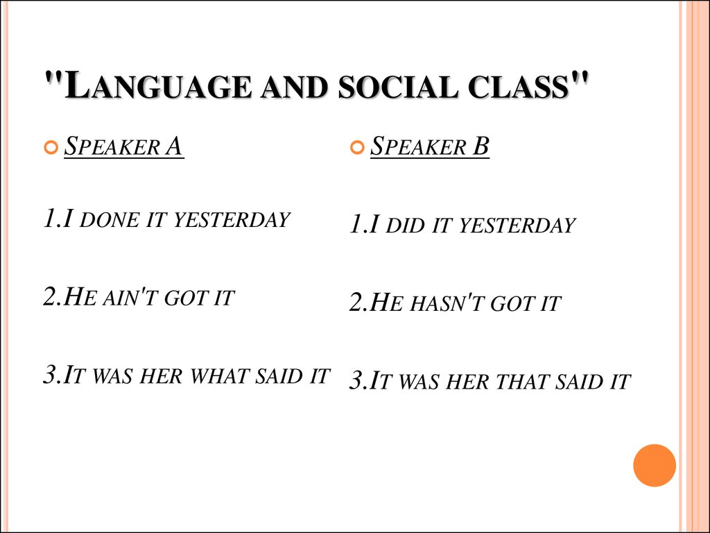 """Language and social class"""
