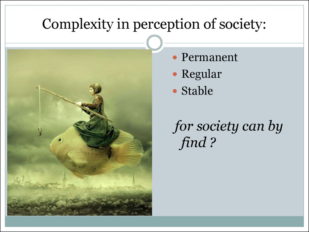 Complexity in perception of society: