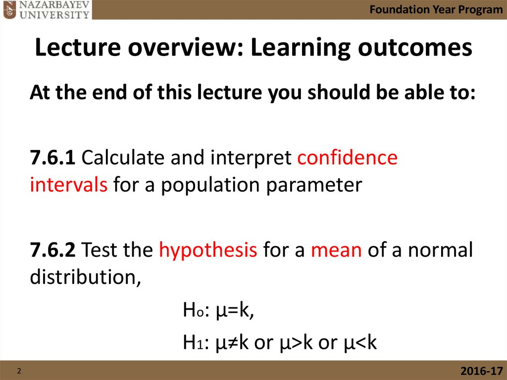 Lecture overview: Learning outcomes