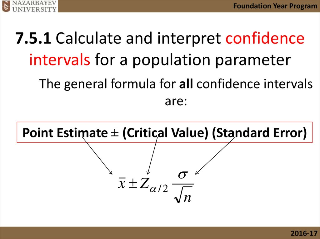 The general formula for all confidence intervals are:
