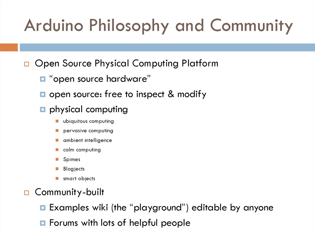 Arduino Philosophy and Community