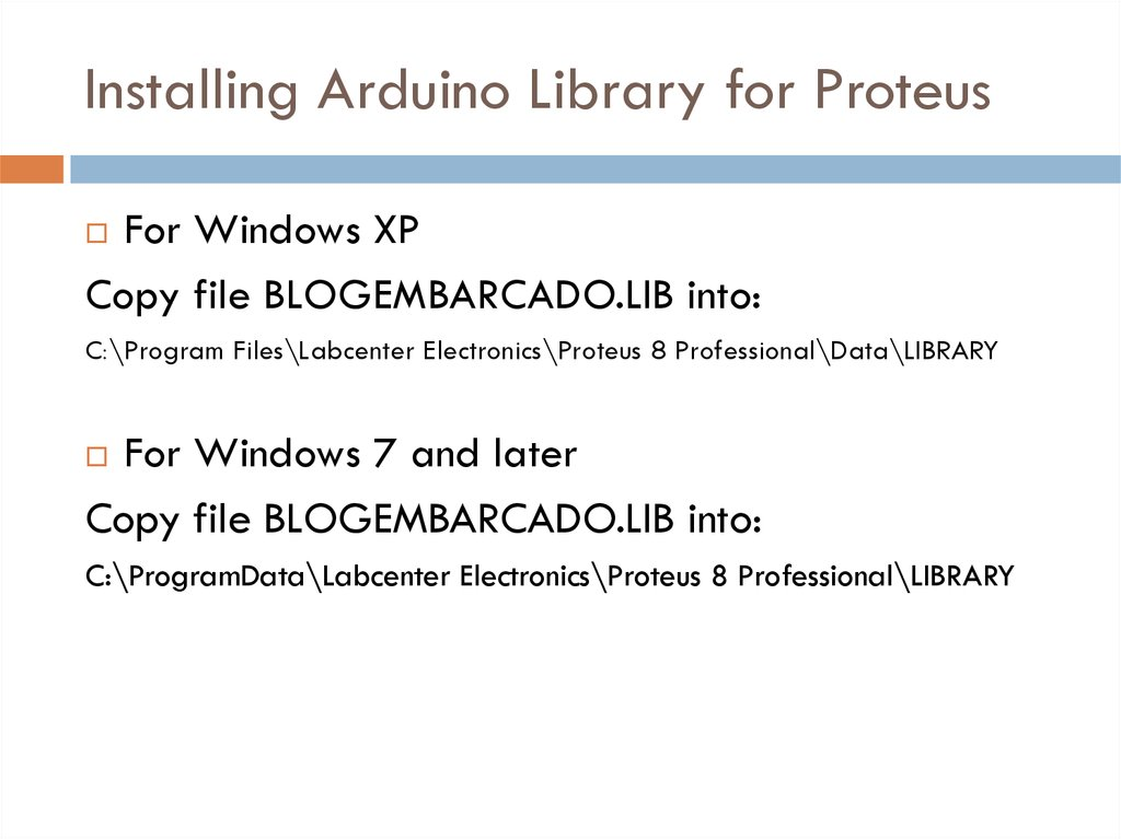 Installing Arduino Library for Proteus