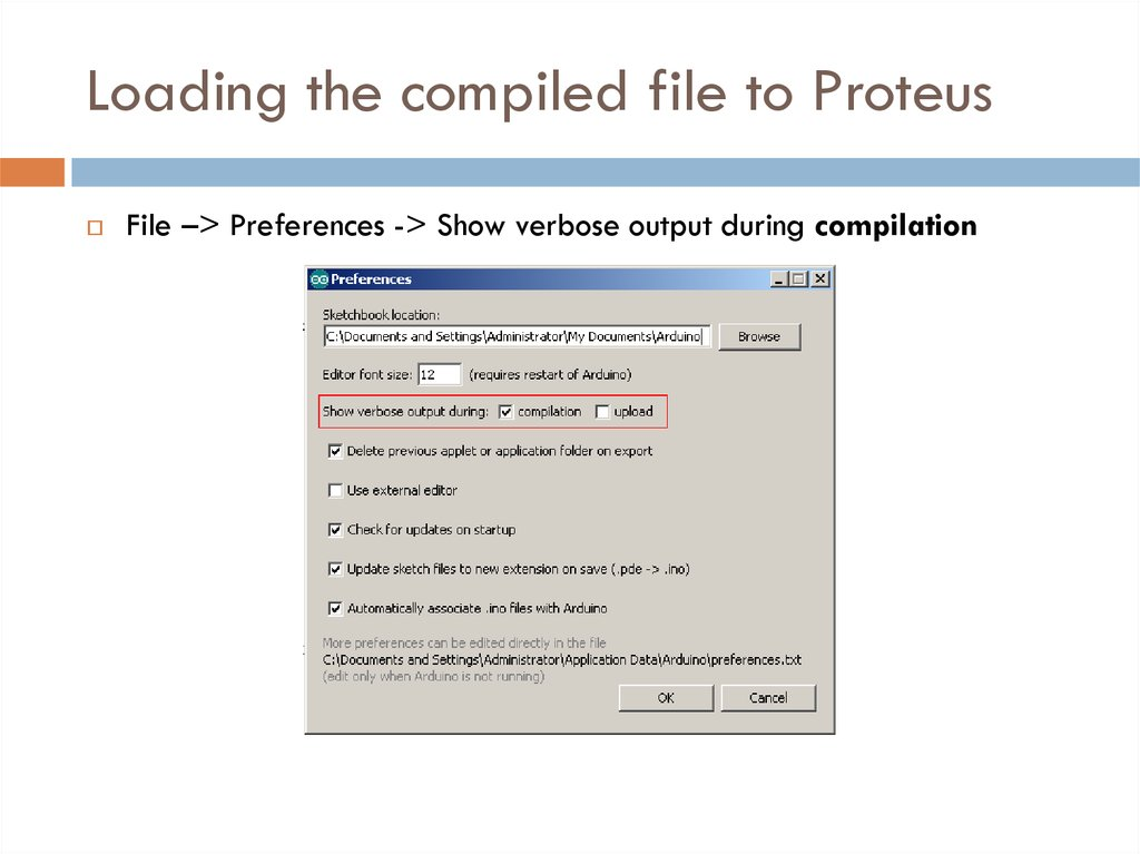 Loading the compiled file to Proteus