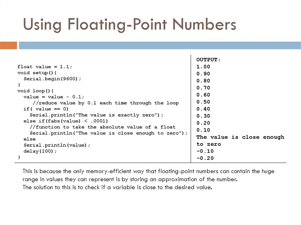 Using Floating-Point Numbers