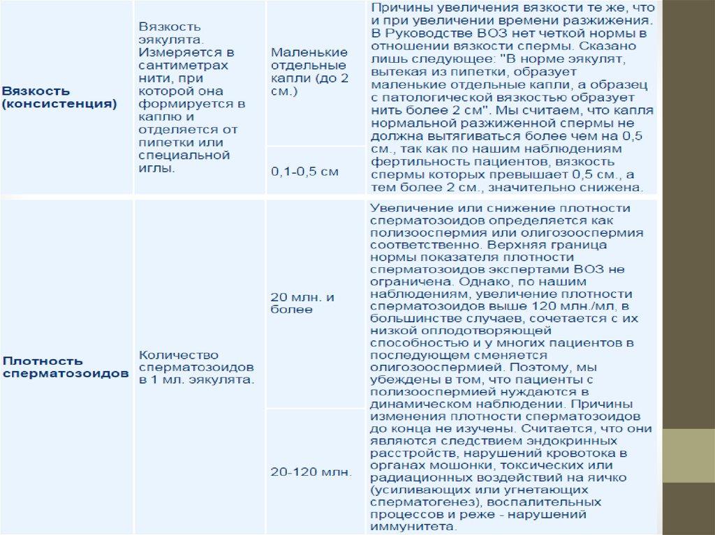 Количество сперматозоидов 12 в мл