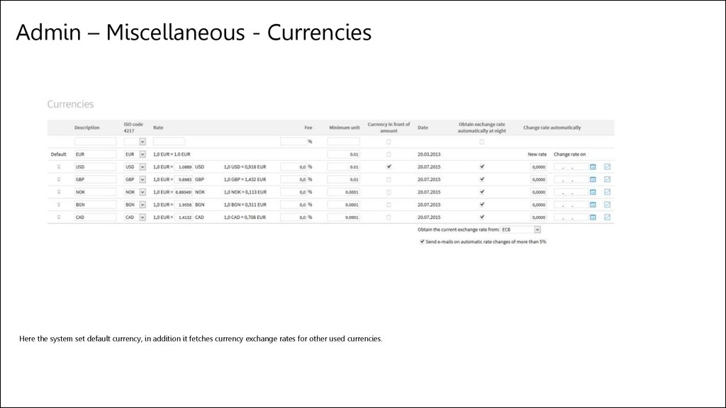 Admin – Miscellaneous - Currencies
