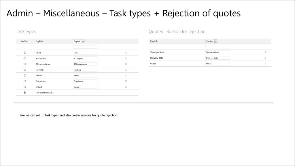 Admin – Miscellaneous – Task types + Rejection of quotes