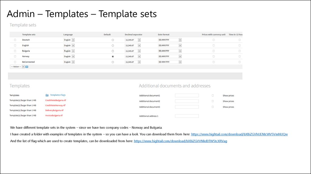 Admin – Templates – Template sets