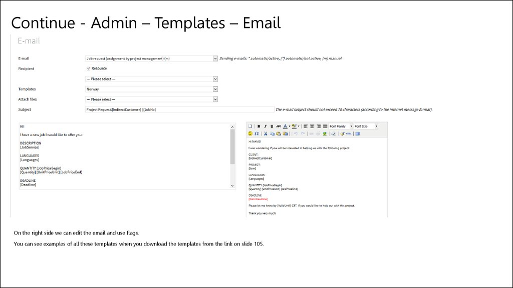Continue - Admin – Templates – Email