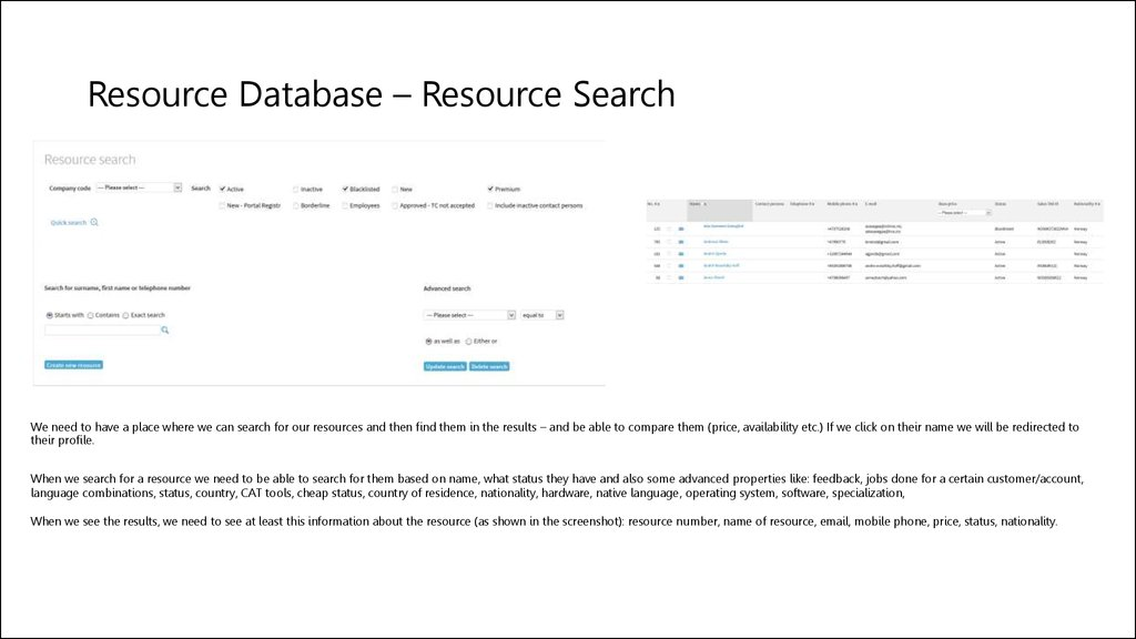 Resource Database – Resource Search