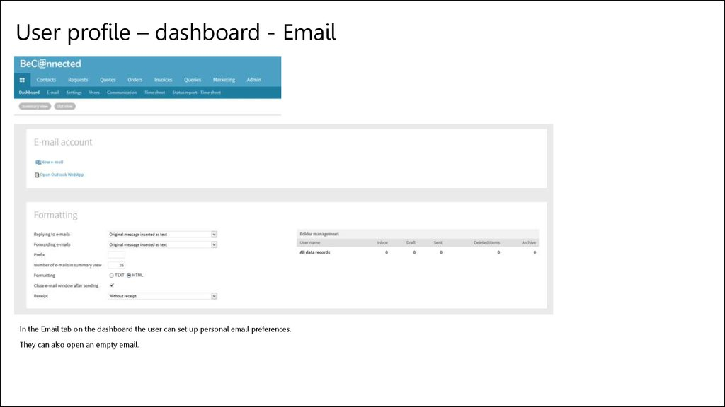 User profile – dashboard - Email