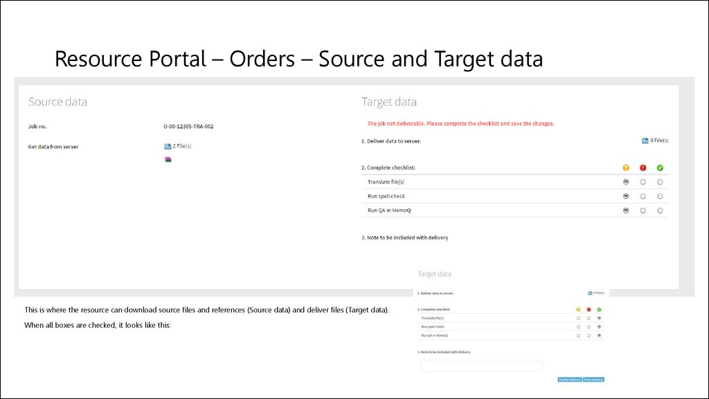 Resource Portal – Orders – Source and Target data