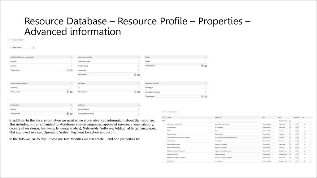 Resource Database – Resource Profile – Properties – Advanced information