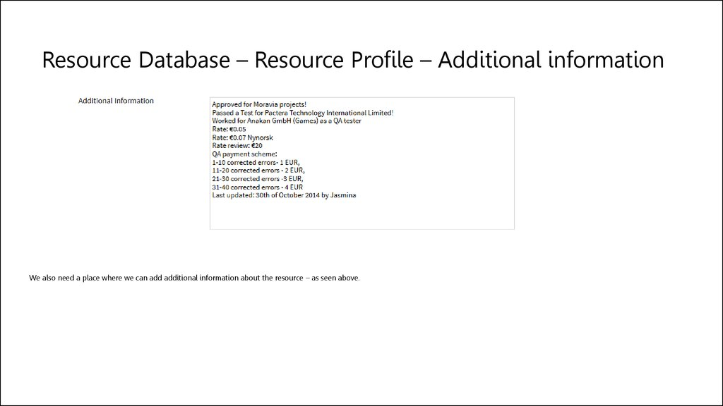 Resource Database – Resource Profile – Additional information