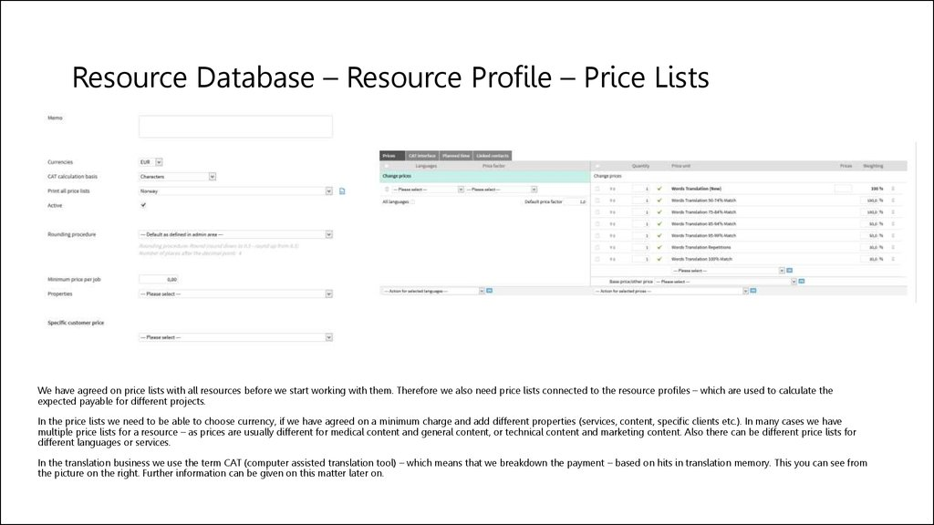 Resource Database – Resource Profile – Price Lists
