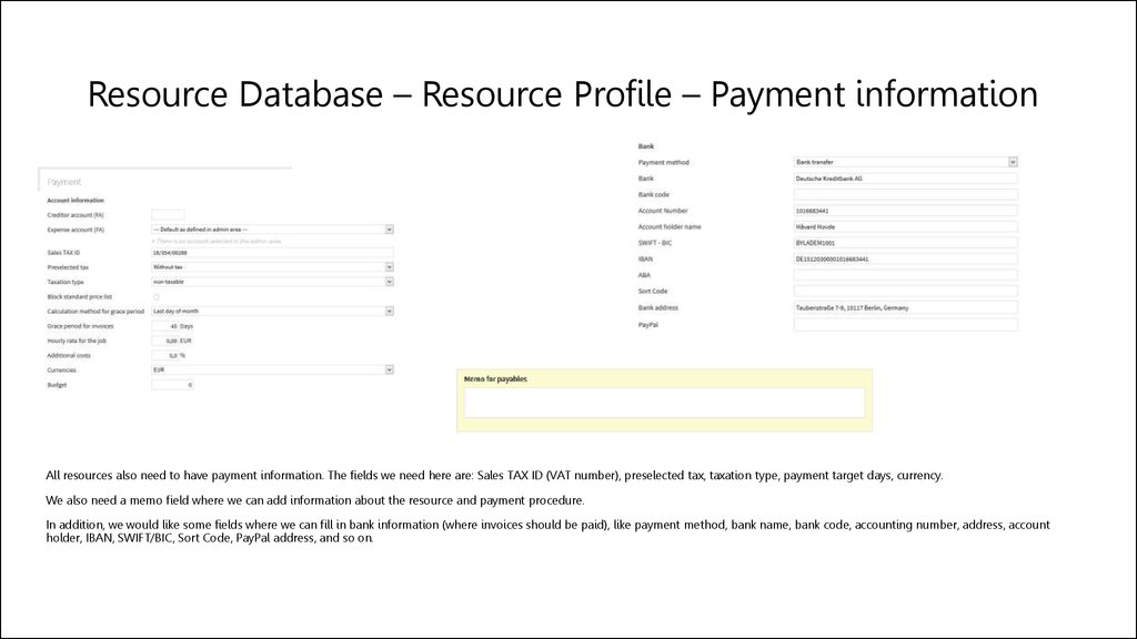 Resource Database – Resource Profile – Payment information