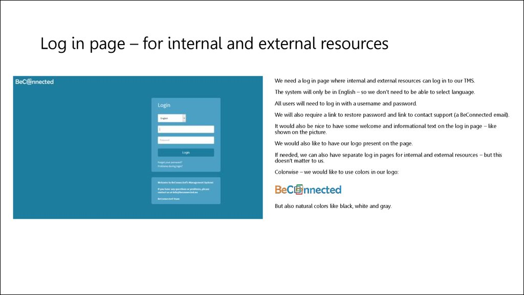 Log in page – for internal and external resources