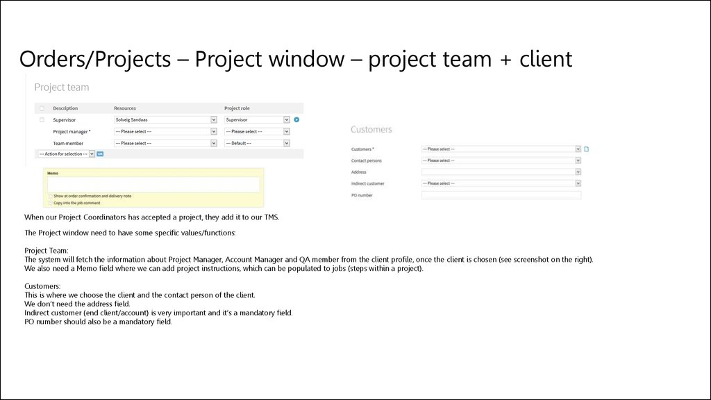 Orders/Projects – Project window – project team + client