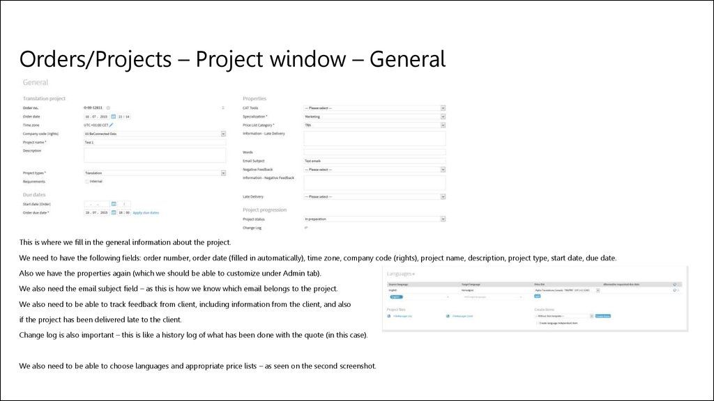 Orders/Projects – Project window – General