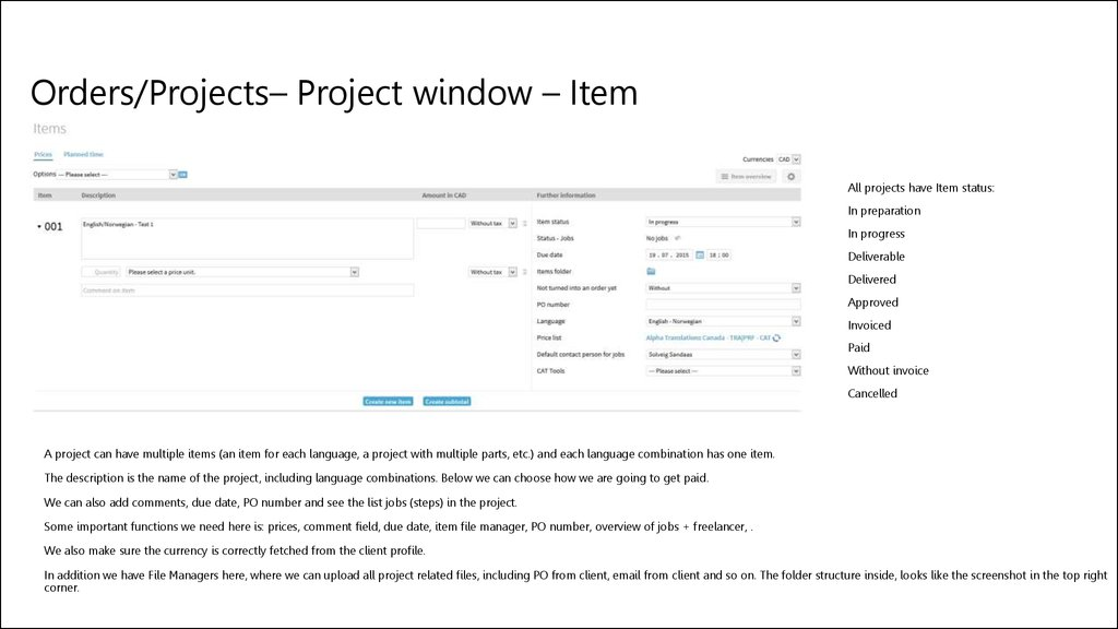 Orders/Projects– Project window – Item