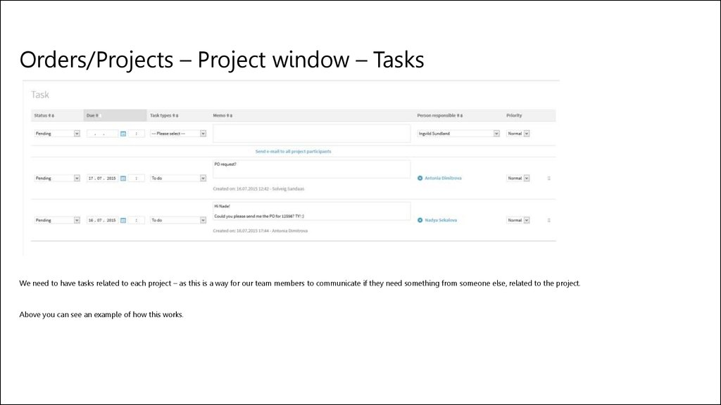 Orders/Projects – Project window – Tasks