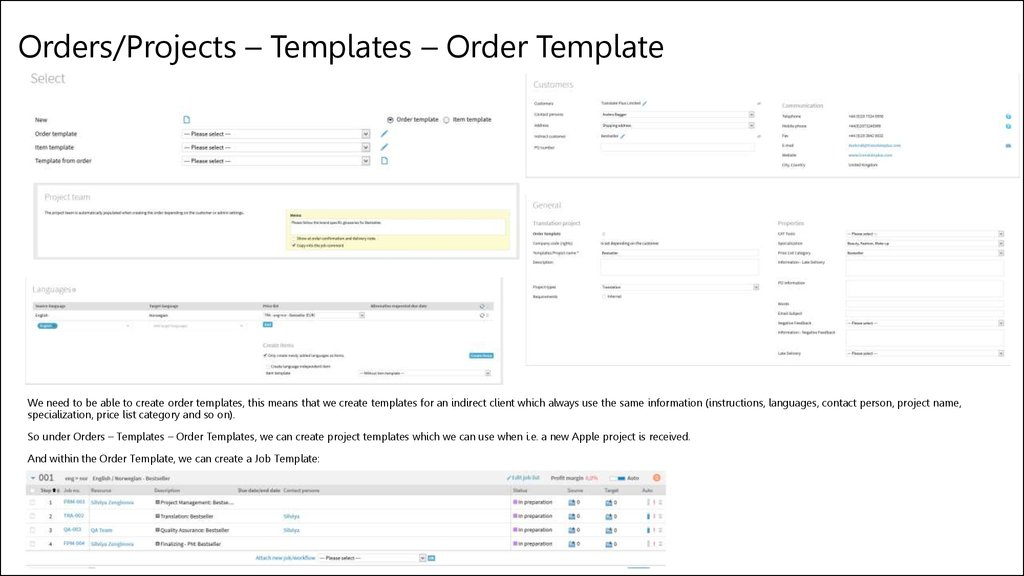 Orders/Projects – Templates – Order Template