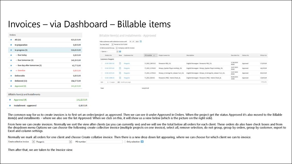 Invoices – via Dashboard – Billable items