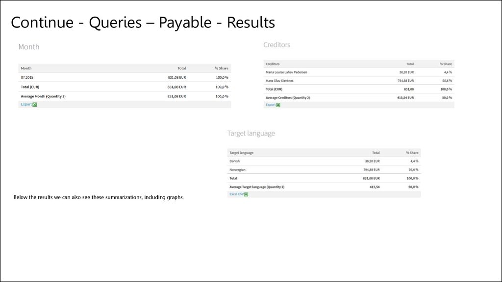 Continue - Queries – Payable - Results