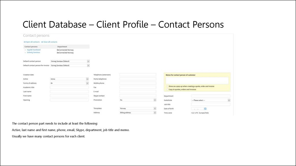 Client Database – Client Profile – Contact Persons