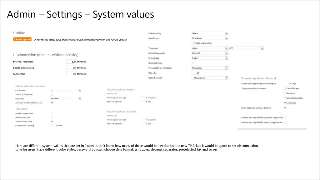 Admin – Settings – System values