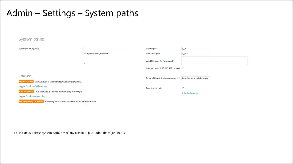 Admin – Settings – System paths