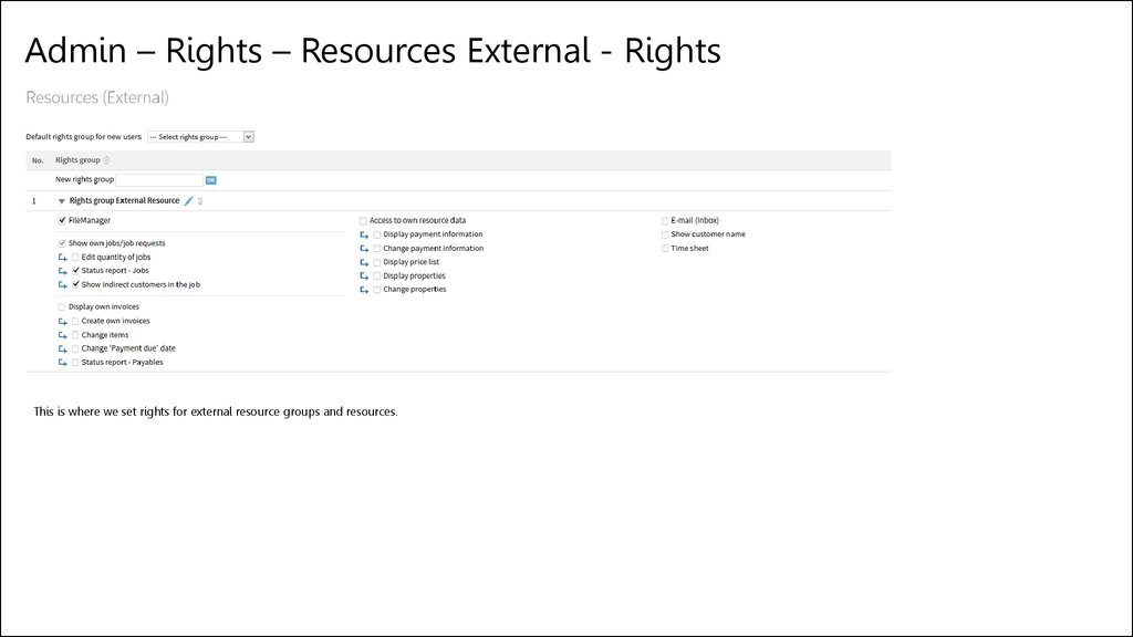 Admin – Rights – Resources External - Rights