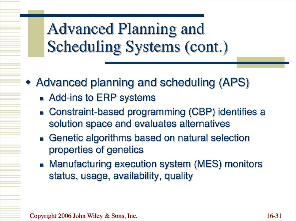 Objectives In Scheduling Loading Sequencing Monitoring