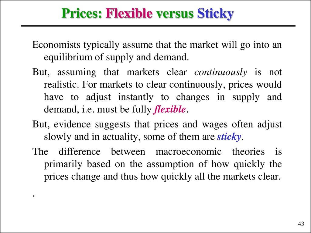Prices: Flexible versus Sticky