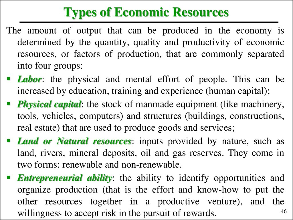 Types of Economic Resources