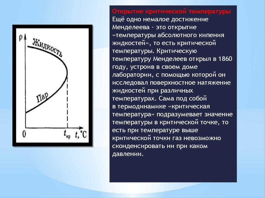 Д И Менделеев online presentation Менделеева это открытие температуры абсолютного кипения жидкостей то есть критической температуры Критическую температуру Менделеев открыл в 1860