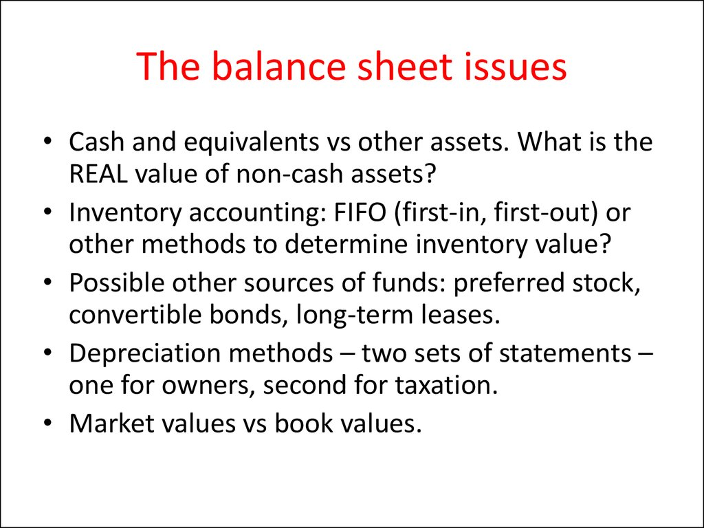 The balance sheet issues
