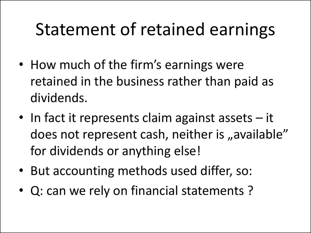 Statement of retained earnings